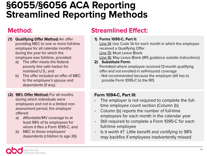 6055/6056 ACA Reporting Streamlined Reporting Methods
