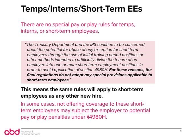 Temps/Interns/Short-Term EEs
