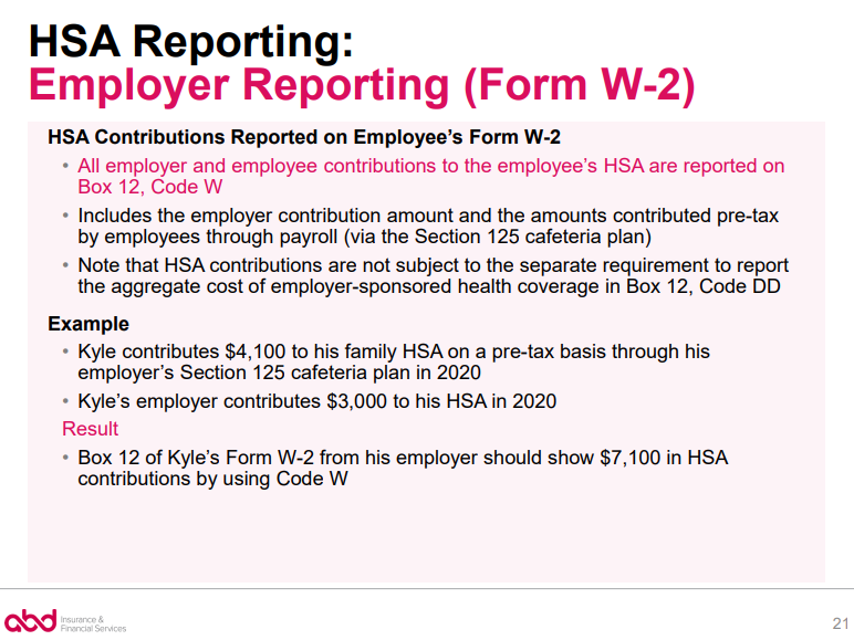 HSA Employer Reporting + Form W2