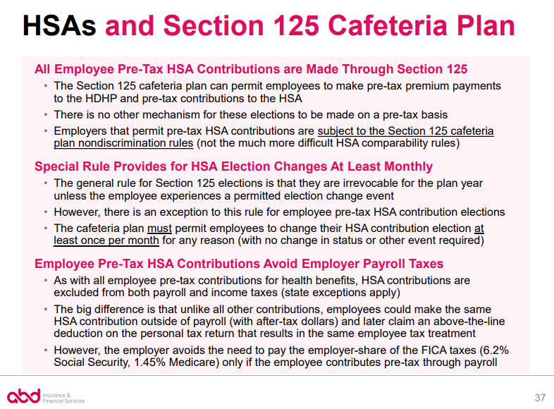 HSAs and Section 125 Cafeteria Plan