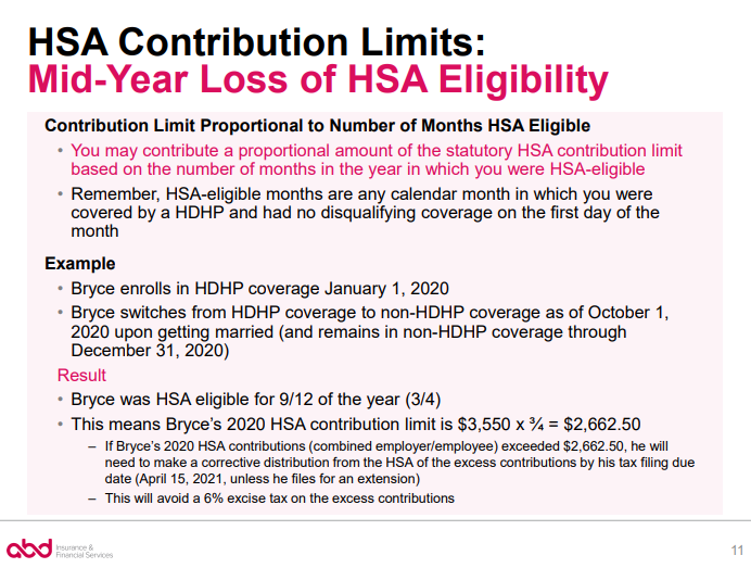 mid-year loss of HSA eligibility