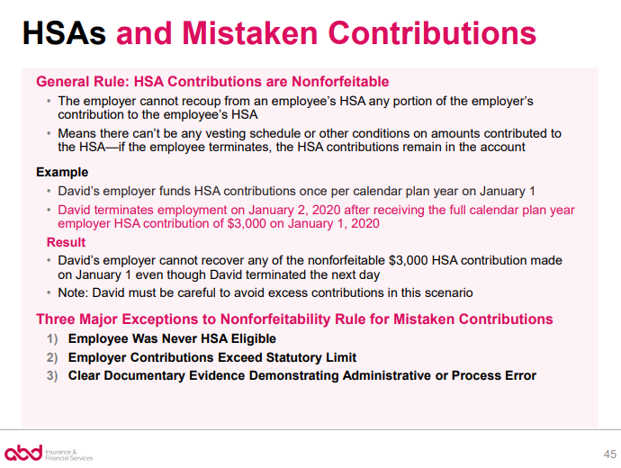 HSAs and Mistaken Contributions - General Rule