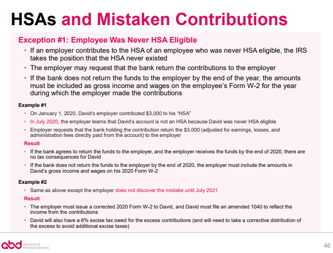 HSAs and Mistaken Contributions - Exception 1