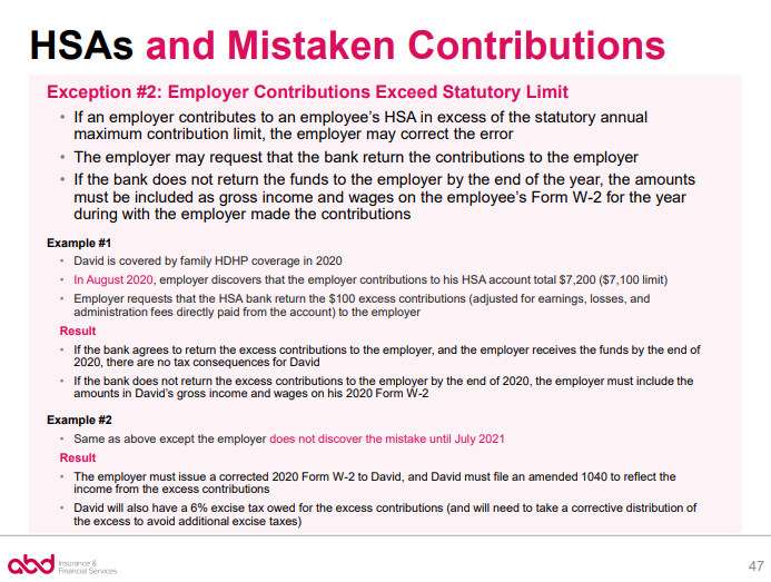 HSAs and Mistaken Contributions - Exception 2