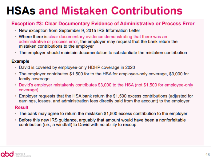 HSAs and Mistaken Contributions - Exception 3